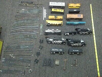 lot of ho scale locomatives, track, carts and parts