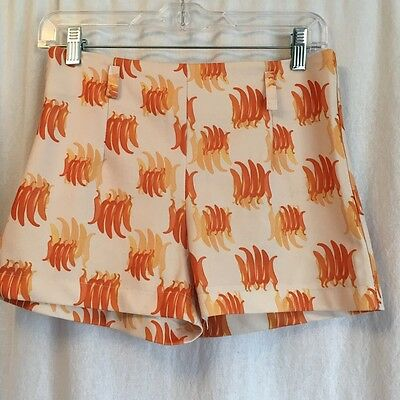 Vtg 60s 70s Hot Pepper Print High Waist Hot Shorts Small Short Shorts