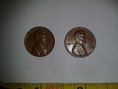 2 American One Cent Coins. 1965 & 1972.
