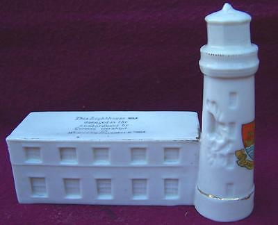 Rare ! Crested China Ww1 Bombarded By German Warships Scarborough Lighthouse