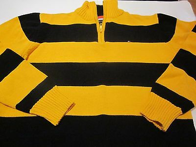 Tommy Hilfiger Boys Polo Sweater 1/4 zip Large 14/16 Navy Blue Gold