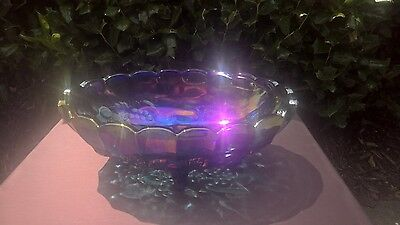 Footed Fruit Bowl Carnival Glass Nice Fruit Harvest Grape Blue Iridescent Oval