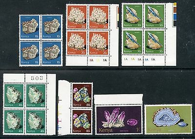 Weeda Kenya 98/106 VF mint NH singles, pair & blocks, 1977 Minerals issue CV $45