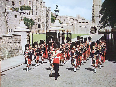 Vintage Military Postcard- Scots Guards At Windsor Castle