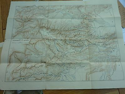 Vintage Map Sheet Of Afghanistan Peshawar To Bannu 21 X 16 Inch