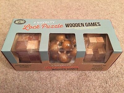 Retro - 3 Novelty Wooden Puzzle Games - Brand New