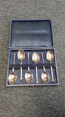 solid silver spoons, walker and Hall b'ham 1920 Hallmarked sterling set of six