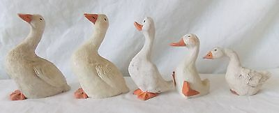 Vintage Folk Art Geese Goose Figurine Group of 5 Hand Painted   #4140