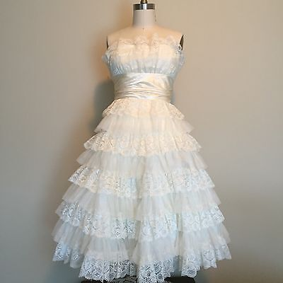 80s Wedding Prom Dress Tulle 50s Style