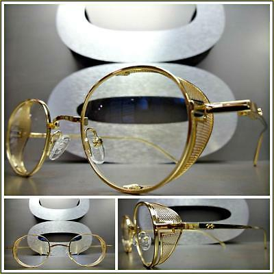Mens CLASSIC VINTAGE RETRO Style Clear Lens EYE GLASSES Gold Metal Fashion Frame