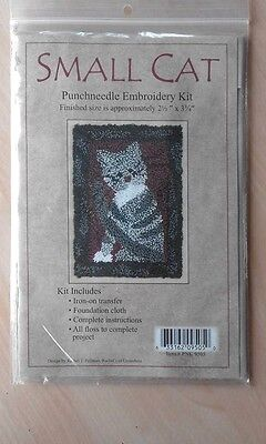 """Small Cat Punchneedle Embroidery Kit by Rachel's of Greenfield  2.5"""" x 3.75"""""""