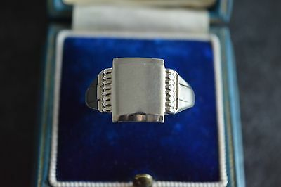 Gents Vintage Solid Sterling Silver Art Deco Style Signet Ring, Size X, 925