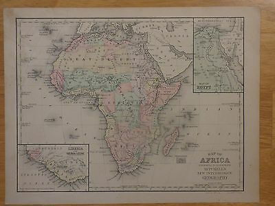 1868 Mitchell's map of Africa from New Geography book, insets Egypt and Liberia