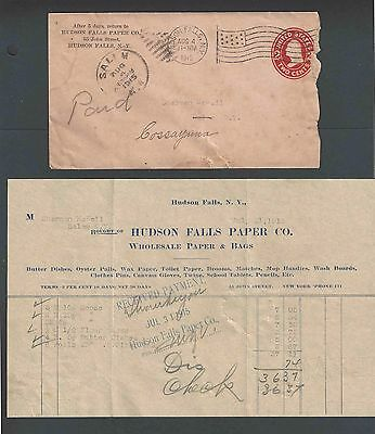 1915 Hudson Falls Paper Co NY Sells Oyster Pails Butter Dishes Wax W/Invoice