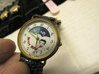 Vintage Betty Boop Battery Wristwatch With Pudgy Dog Moon Dial Leather Band