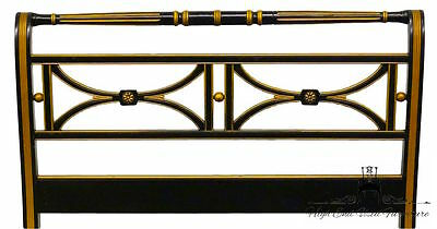 High End French Regency Style Black and Gold Twin Sleigh Bed