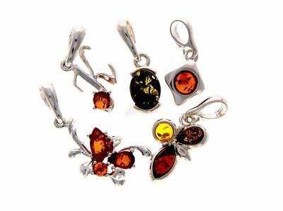 WHOLESALE JOB LOT 5 Baltic Amber & 925 Solid Sterling Sterling Silver PENDANTS