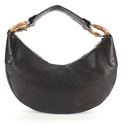 GUCCI Authentic Black Pebbled Leather Bamboo Ring Hobo Shoulder Bag