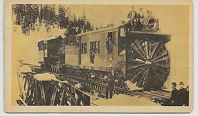 """Southern Pacific Railroad Rotary Snowplow developed 1880s on 3.5"""" x 6"""" card"""