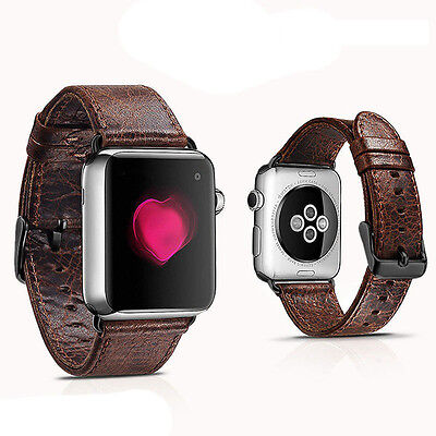 Coffee Leather Watch Strap Band for Apple Watch 38mm Series 1 2 3 Black Fixings