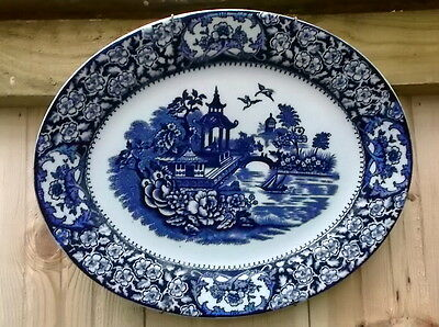 Blue / White Willow Pattern Oval Plate