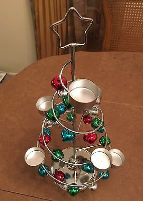 Christmas Tree Tealight Votive Holder Silver With Bells