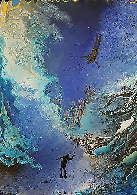 contemporary original acrylic art pictures 2 piece abstract  picture canvas blue