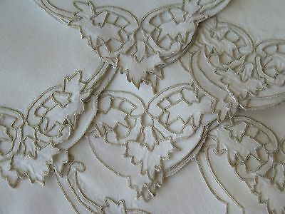Vtg Antique Madeira Dinner Napkins w/ Taupe Hand Embroidery Leaves Set of 8