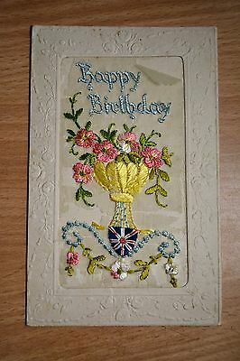 Military Postcard WW1 WWI Silk Sweetheart Type Card, Birthday, Poor Condition