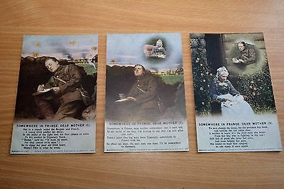 WW1 WWI Sweetheart Type Bamforth Song Card Set, Soldier, Somewhere in France...