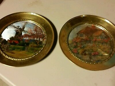 Vintage metal Plates Windmill  Cottage  home decor colorful BX 155
