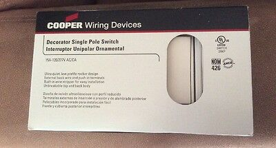 10 Cooper White Decorator Ultra Quiet Rocker Light Switches 15A S Pole 7501W