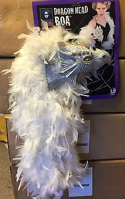 Dragon Head Boa - White Feathers Latex Dragon Head Prop Womens Halloween Costume