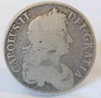 17th Century British Silver (92.5%) Coin - Charles II Crown (5 Shillings)