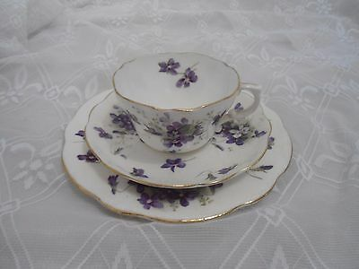 Beautiful Vintage Hammersley Violets Tea Set Trio
