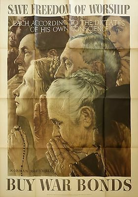 Vintage Original Norman Rockwell Four Freedoms Poster WW2 Large Buy War Bonds