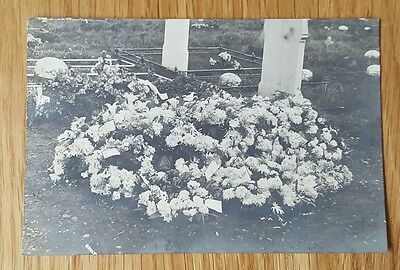 A 1923 Photo Postcard of a Grave with Wreaths
