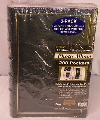 New Pioneer Bonded Leather Albums #319624 400 Photos 3-Ring 200 Pockets 2-Pack
