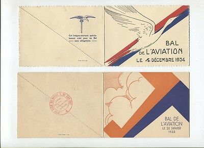 N°5221 /  2 dépliants invitation bal de l'aviation 1933,1934