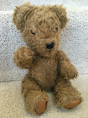 "Antique Vintage Chad Valley 12"" English Jointed Golden Mohair Teddy Bear 50s 40s"