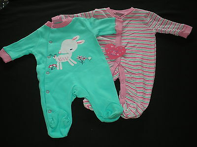 Sleepsuit Babygrow All in one Girls 2 Pack Lily and Jack New
