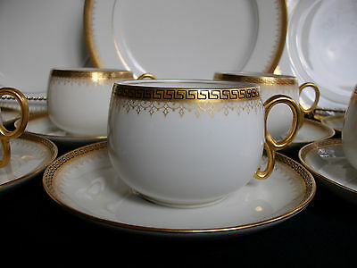 BAWO & DOTTER/ELITE WORKS- GREEK KEY-FILIGREE (c1896+) CUP & SAUCER(s)- GILT!!