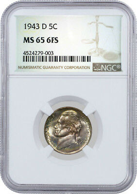 1943 D 5C Jefferson Silver War Nickel NGC MS65 6FS