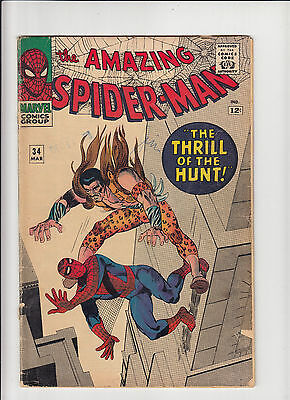 Amazing Spider-Man 34 Stan Lee Steve Ditko!   fair/good cover detached