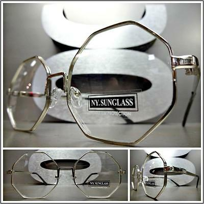 CLASSIC VINTAGE RETRO Style Clear Lens EYE GLASSES Small Silver Octagon Frame