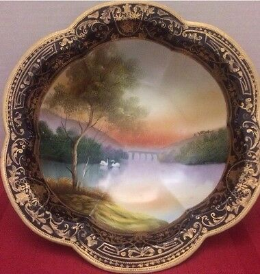 Antique Nippon Swan Large Bowl Hand Painted