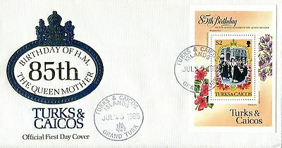 Turks & Caicos 1985 Queen Mother MS FDC