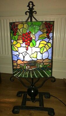 Tiffany Style Stained Glass Table Lamp Vintage Antique Style French Vineyard