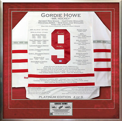 Gordie Howe Platinum Edition Career Jersey - Signed - Ltd /9 - Detroit Red Wings