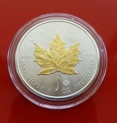 2015 Gilded Canadian .999 Silver Maple Leaf 1oz Coin